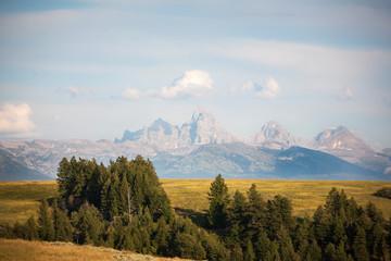 A view of the Grand Teton mountain range from Idaho.