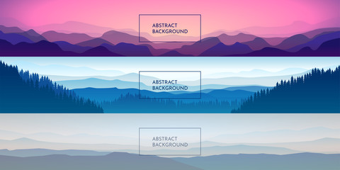 Fototapete - Set of panoramic vector landscapes. minimalistic background. Widescreen wallpapers. Abstract mountains and forests in a flat style. Pastel colors