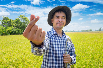 Asian Young farmer happy hand up mini heart shape and holding sickle in a green rice field and blue sky