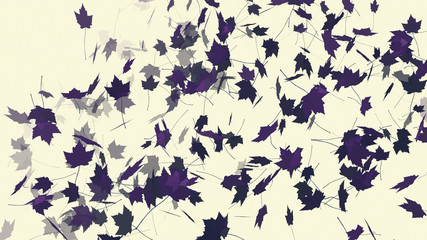 Flying maple leaves on light whitish background. Backdrop for your design. Digital drawing.