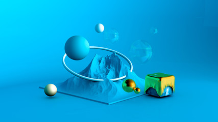 Abstract minimalism background in the studio with a mountain and elements. 3d illustration, 3d...