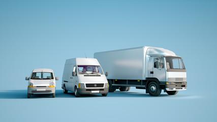 Road transportation fleet blue