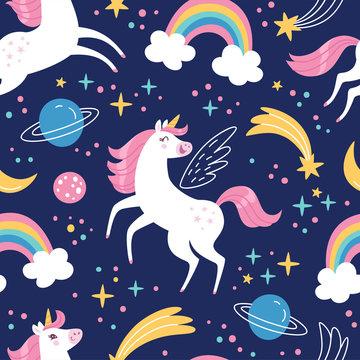 Unicorn pattern. Vector seamless pattern with white unicorns, rainbow and stars. Isolated on dark blue background.