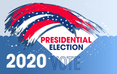 Dynamic design elements for United States of America Presidential Election. Vote 2020 USA for a flyer, presentations, poster etc. Colorful modern banner. Vector