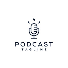 podcast vector logo design