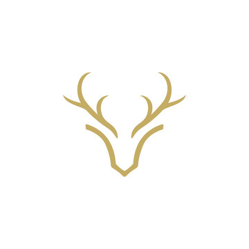 deer antler head vector logo design