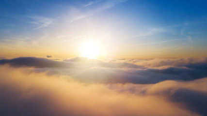 Beautiful sunrise cloudy sky from aerial view