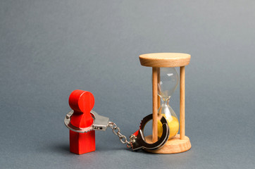 The red figure of a man is handcuffed to an hourglass. Dependence, there is little time left. Streamline business, increase efficiency and reduce downtime. Find in the shortest possible time.