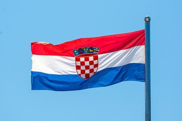 Croatian Flag in front of a blue sky