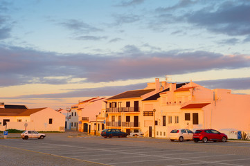 Fotomurales - Sunset Portugal town  cars parking