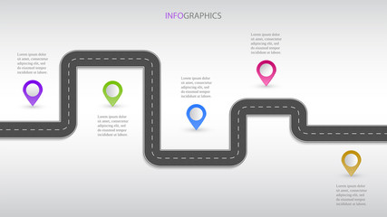 Itinerary business planning infographic with strategy navigation or important stages signs, illustration with step marks. Asphalt road visualization for workflow guidance. Achievements and milestones.