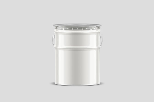 White Tub Paint Bucket Mock up, container with metal handle and lid on light gray background. Metal painting Pail .3D rendering.