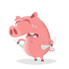 funny illustration of a poor cartoon pig