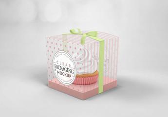 Clear Cupcake Box Mockup