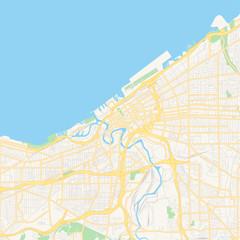 Empty vector map of Cleveland, Ohio, USA