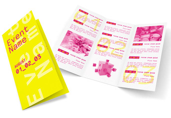 Trifold Brochure Layout with Pink and Yellow Accents