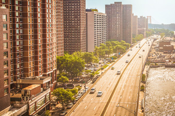 FDR drive viewed from The Franklin D. Roosevelt East River Drive or FDR drive viewed from Manhattan Bridge during sunny summer day in New York City, USABridge