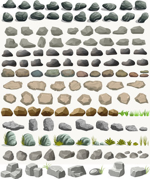 Rock stone set with grass cartoon in flat style. Vector