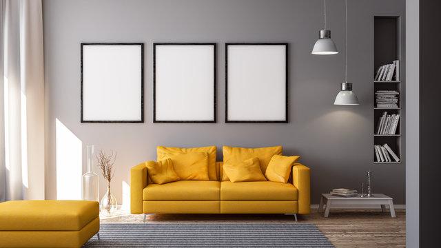 3D Rendering von gelber Couch oder Sofa und leeren Bilderrahmen vor grauer Wand in Raum oder Wohnzimmer einer Wohnung mit modernen Möbeln in minimalistischen Interieur
