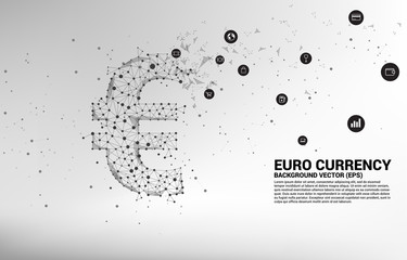 Vector money euro currency icon from Polygon dot connect line. Concept for europe financial network connection.