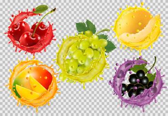 Set of fruit in juice splash. Grapes, cherry, mango, honeydew, blackberry. Vector Fototapete