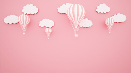 Pink balloons on pink sky background. Artwork for balloon international festival. paper cut or craft style. Autumn season artwork.3D illustration. Fototapete