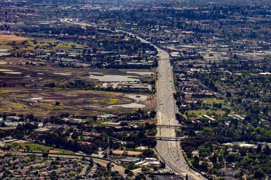 Aerial View of the 101 Freeway Cutting through the City of Palo Alto in Silicon Valley, California, USA