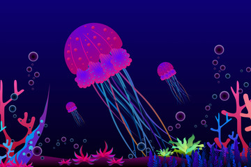 Jellyfish and coral under the sea background