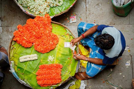 Flower market in Bangalore, India