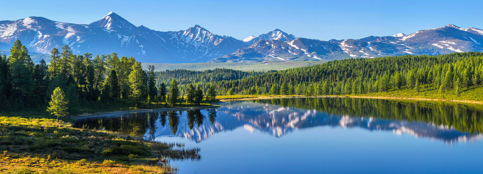 Mountain landscape, picturesque mountain lake in the summer morning, large panorama, Altai