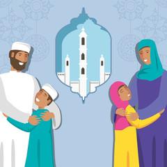 islamic family with kids and ramadan temple