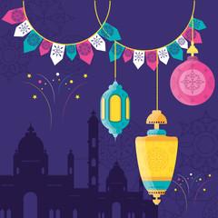 ramadan kareem mosque building with lantern hanging