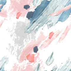 Acrylic, oil and watercolor paint rough smears, blots, texture seamless pattern