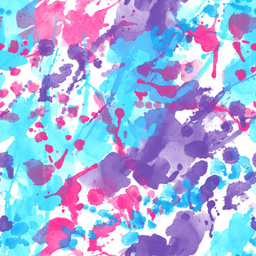 Abstract watercolor splatter seamless pattern