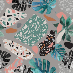 Tropical watercolor leaves, turned edge geometric shapes, terrazzo flooring elements seamless pattern