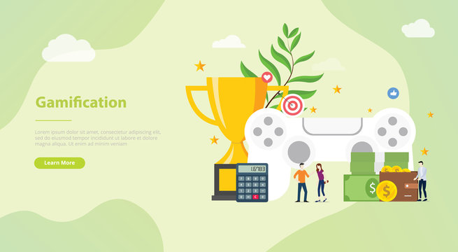 gamification life concept for website template banner or landing homepage with modern flat style - vector