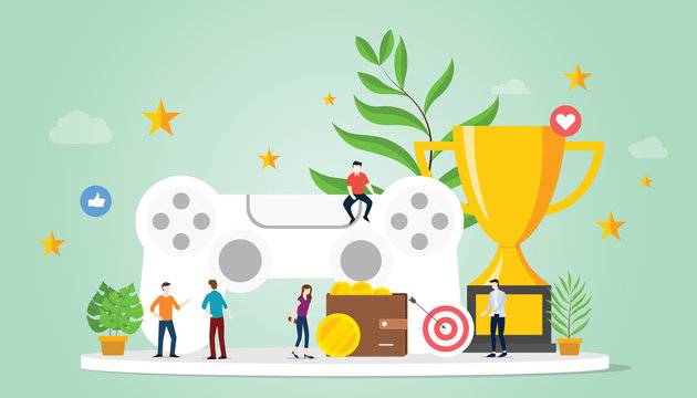 gamification life concept with goals reward and star with team people and big trophy with modern flat style - vector