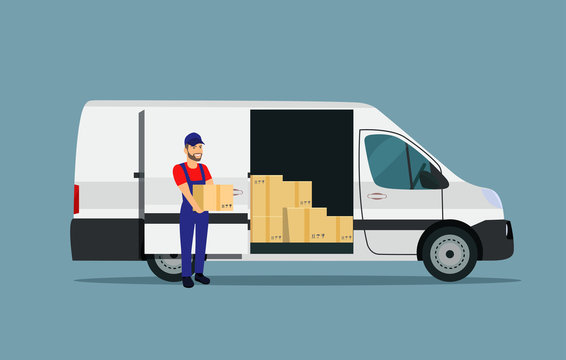 Мan loads boxes in a cargo van. Vector flat style illustration.