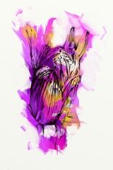 Abstract flowers oils painting art illustration