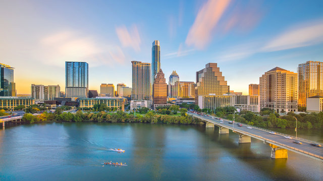 Downtown Skyline of Austin, Texas in USA from top view