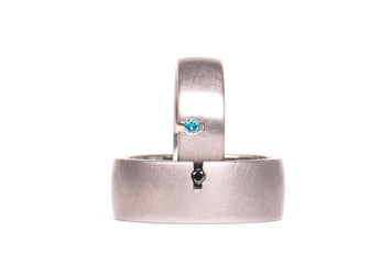 Pair of paladium wedding rings isolated