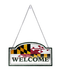 Maryland welcomes you! Old metal sign isolated