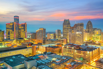 Wall Mural - Aerial view of downtown Detroit at sunset in Michigan