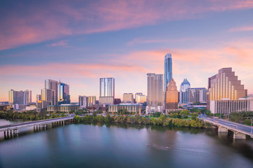 Wall Mural - Downtown Skyline of Austin, Texas in USA from top view