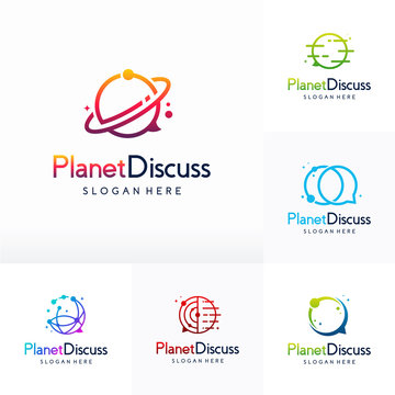 Set of Planet Consult logo designs vector, Consulting Place logo template, Planet logo Template