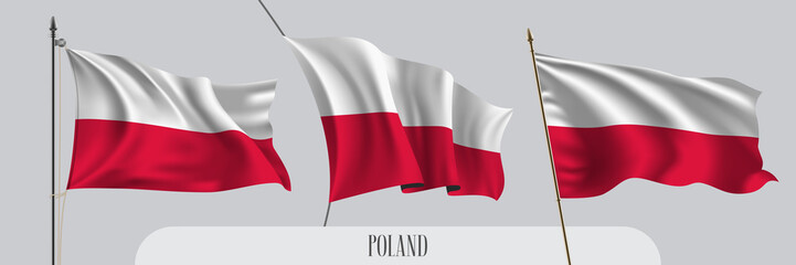 Set of Poland waving flag on isolated background vector illustration Wall mural