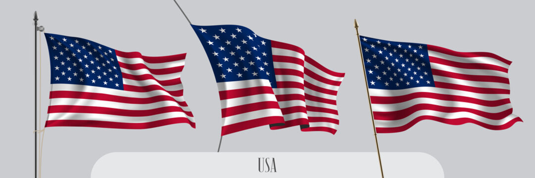Set of USA waving flag on isolated background vector illustration