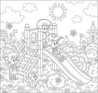 Little children playing on a slide on a playground in a park of a small town on a sunny summer day, black and white vector illustration in a cartoon style for a coloring book