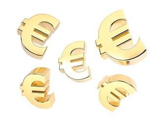 Gold metal Euro signs
