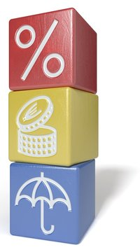 Stacked cubes: interest rate, savings, insurance